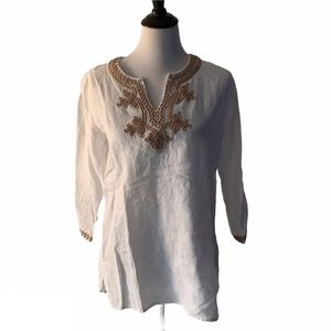 Symple NYC White Linen Embroidered Tunic size  M
